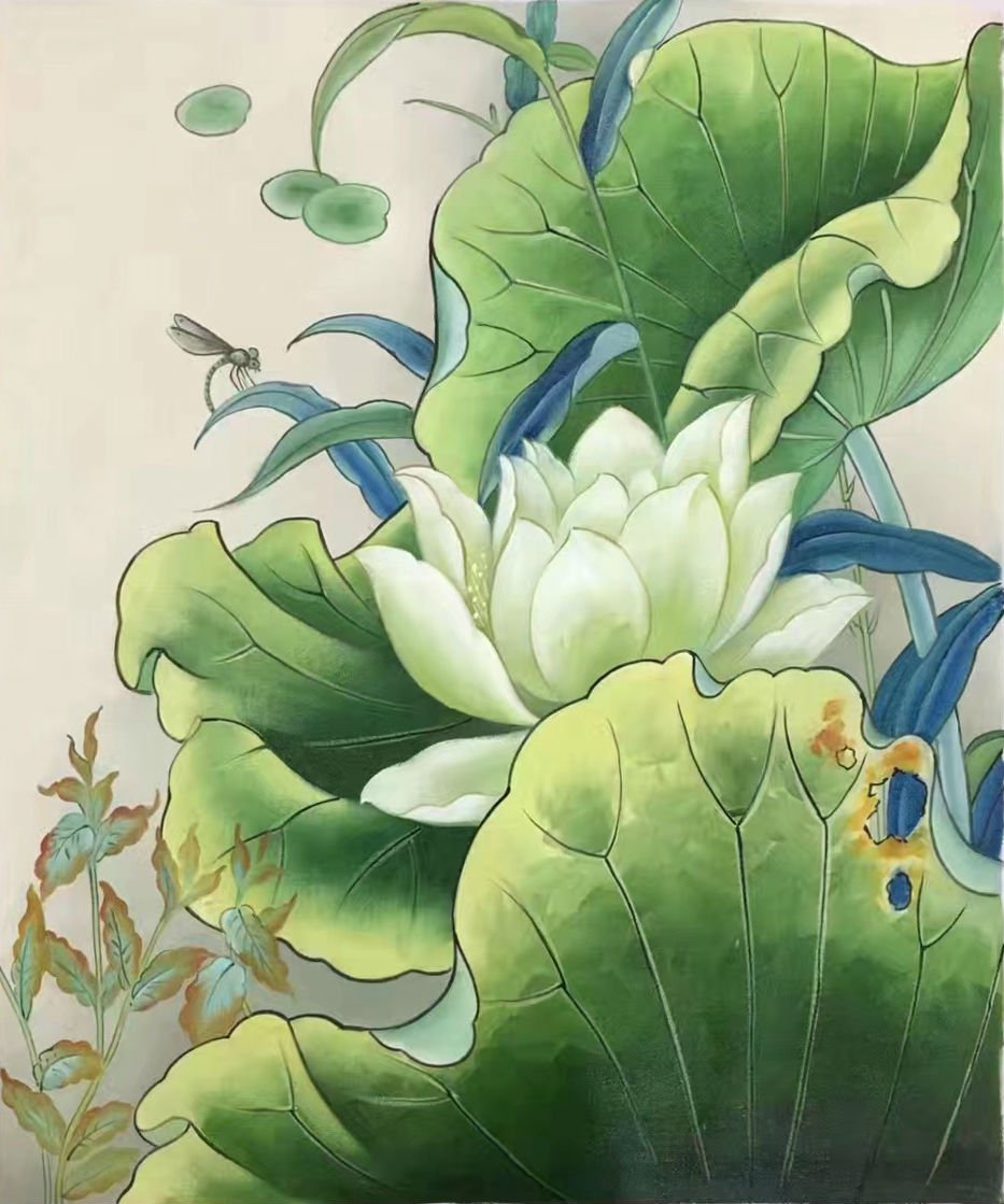 """Chinese style Hand painted oil painting on canvas""""lotus""""50x60CM(19.7""""x23.6"""")Unframed-20"""