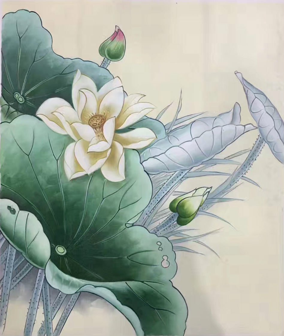 "Chinese style Hand painted oil painting on canvas""lotus""50x60CM(19.7""x23.6"") Unframed-21"