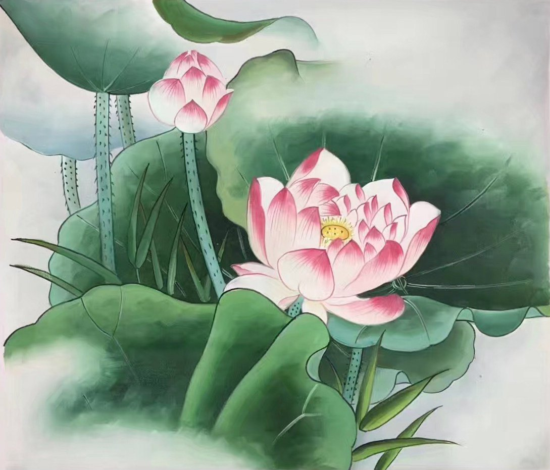 "Chinese style Hand painted oil painting on canvas""lotus""50x60CM(19.7""x23.6"") Unframed-24"