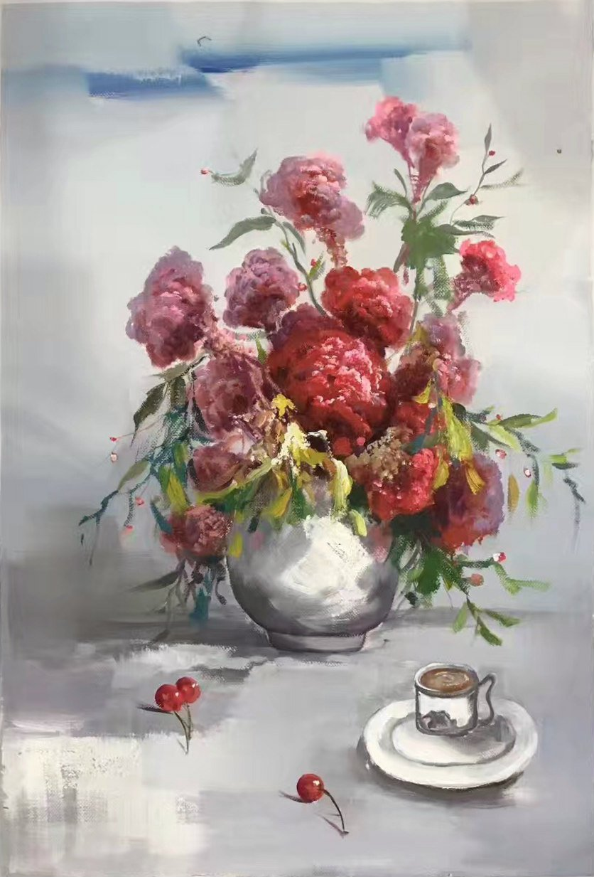 """Simple modern Hand painted oil painting on canvas""""Potted flowers""""60x90CM(23.6""""x35.4"""")Unframed-34"""