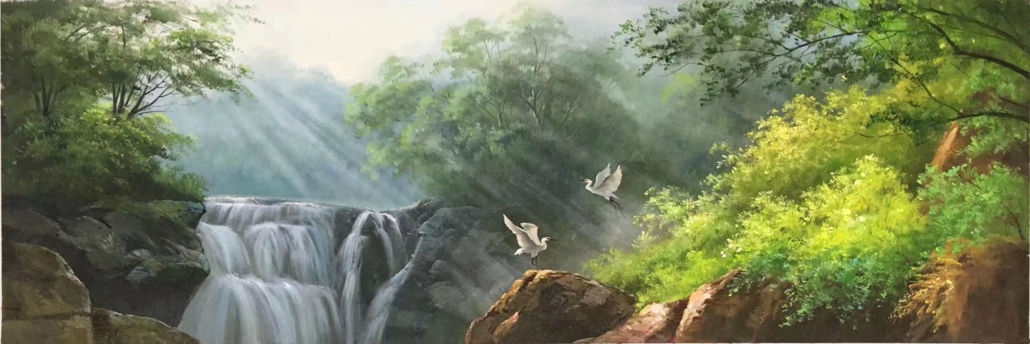 """American style Hand painted oil painting on canvas""""Creek""""50x100CM(19.7""""x39.4inch)Unframed-78"""
