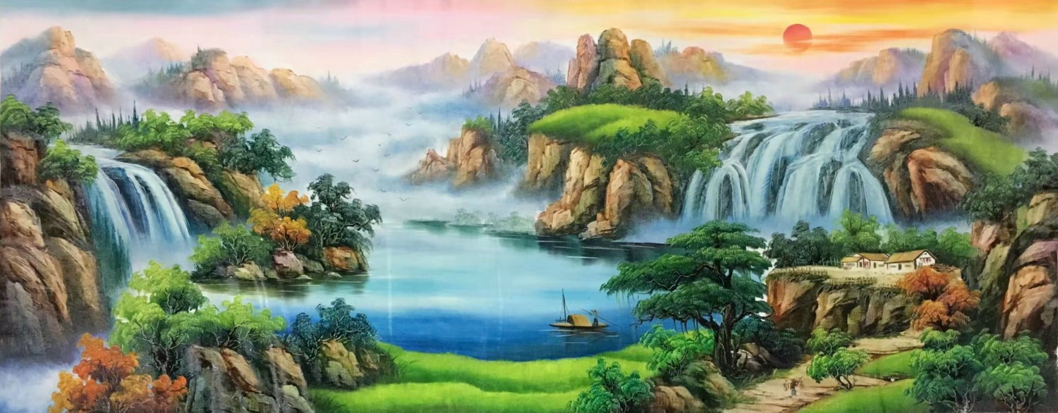 """Hand painted oil painting on canvas""""Mountains and rivers unlimited""""70x180CM(27.6""""x70.9"""")Unframed-84"""