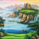 "Hand painted oil painting on canvas""Mountains and rivers unlimited""70x180CM(27.6""x70.9"")Unframed-84"