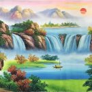 """Hand painted oil painting on canvas""""Mountains and rivers unlimited""""70x180CM(27.6""""x70.9"""")Unframed-85"""
