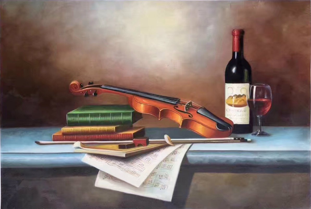"Simple modern Hand painted oil painting on canvas""violin""60x90CM(23.6""x35.4"")Unframed-01"
