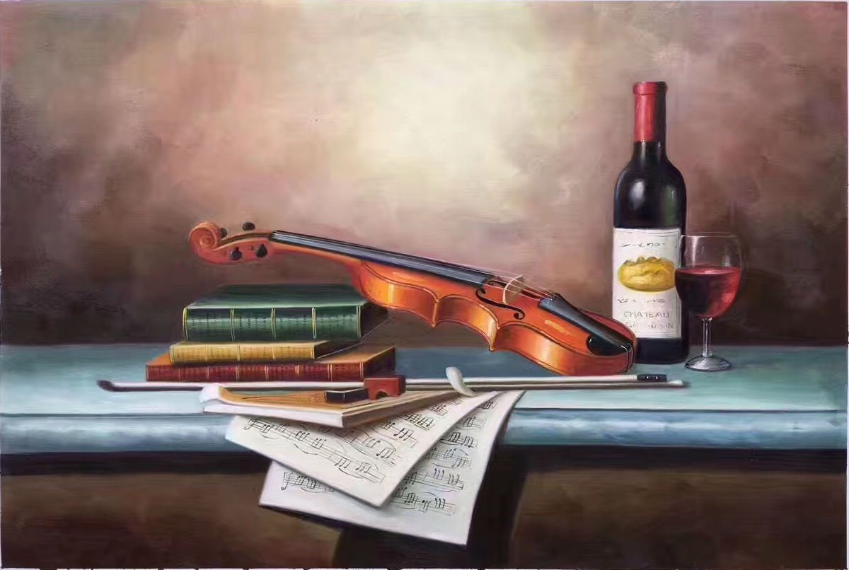 "Simple modern Hand painted oil painting on canvas""violin""60x90CM(23.6""x35.4"")Unframed-04"