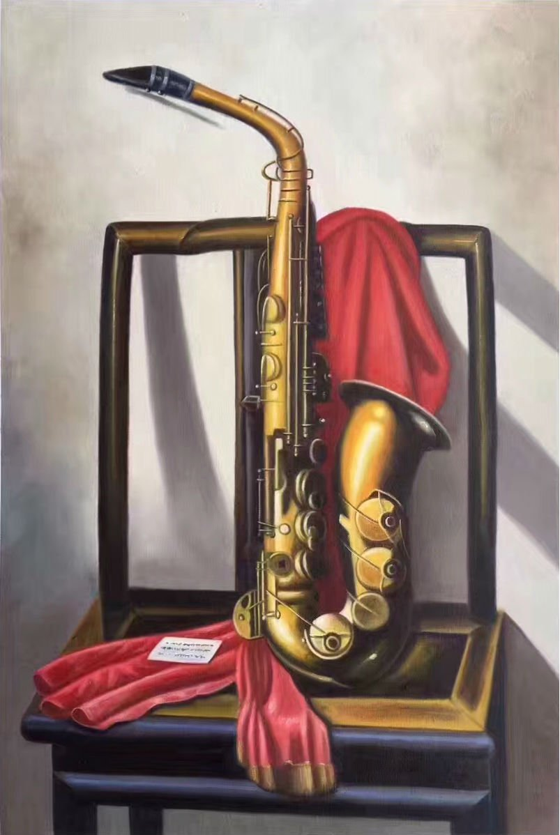 "Simple modern Hand painted oil painting on canvas""Saxophone""60x90CM(23.6""x35.4"")Unframed-01"