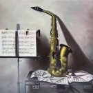 "Simple modern Hand painted oil painting on canvas""Saxophone""60x90CM(23.6""x35.4"")Unframed-02"