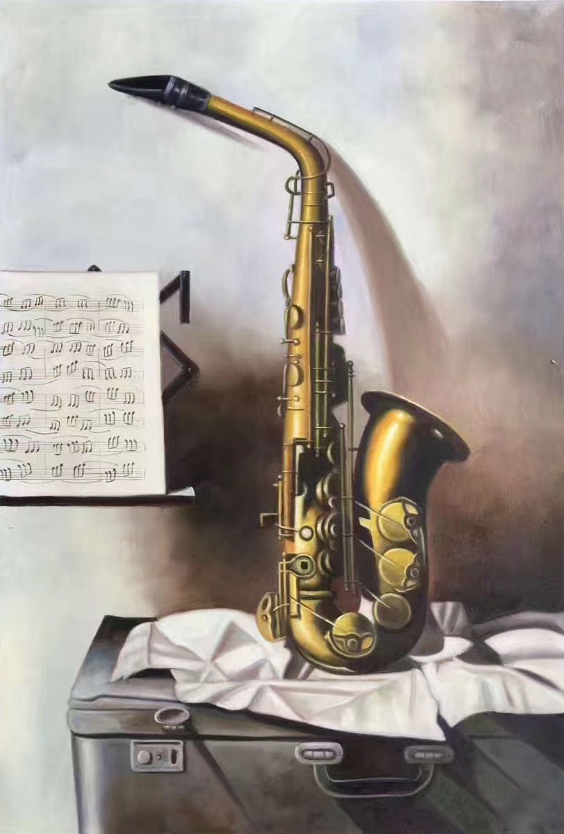 "Simple modern Hand painted oil painting on canvas""Saxophone""60x90CM(23.6""x35.4"")Unframed-03"