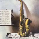 """Simple modern Hand painted oil painting on canvas""""Saxophone""""60x90CM(23.6""""x35.4"""")Unframed-03"""