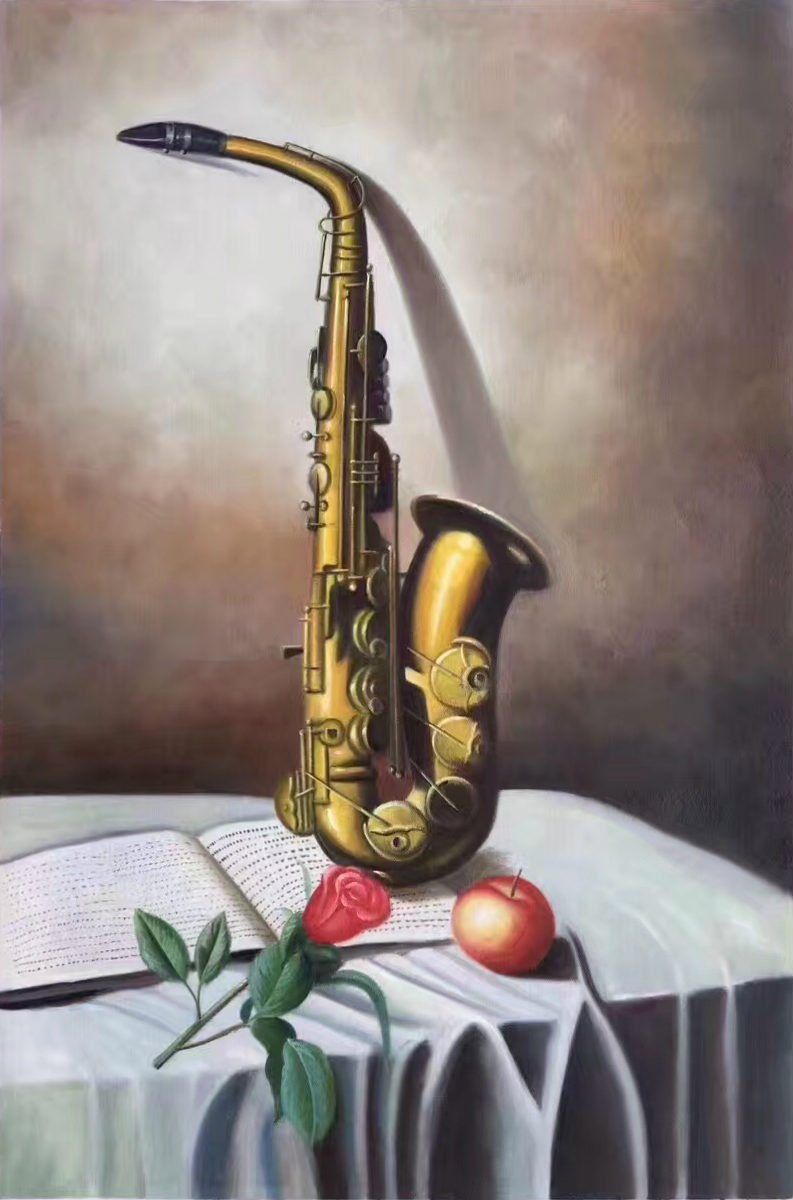 "Simple modern Hand painted oil painting on canvas""Saxophone""60x90CM(23.6""x35.4"")Unframed-06"