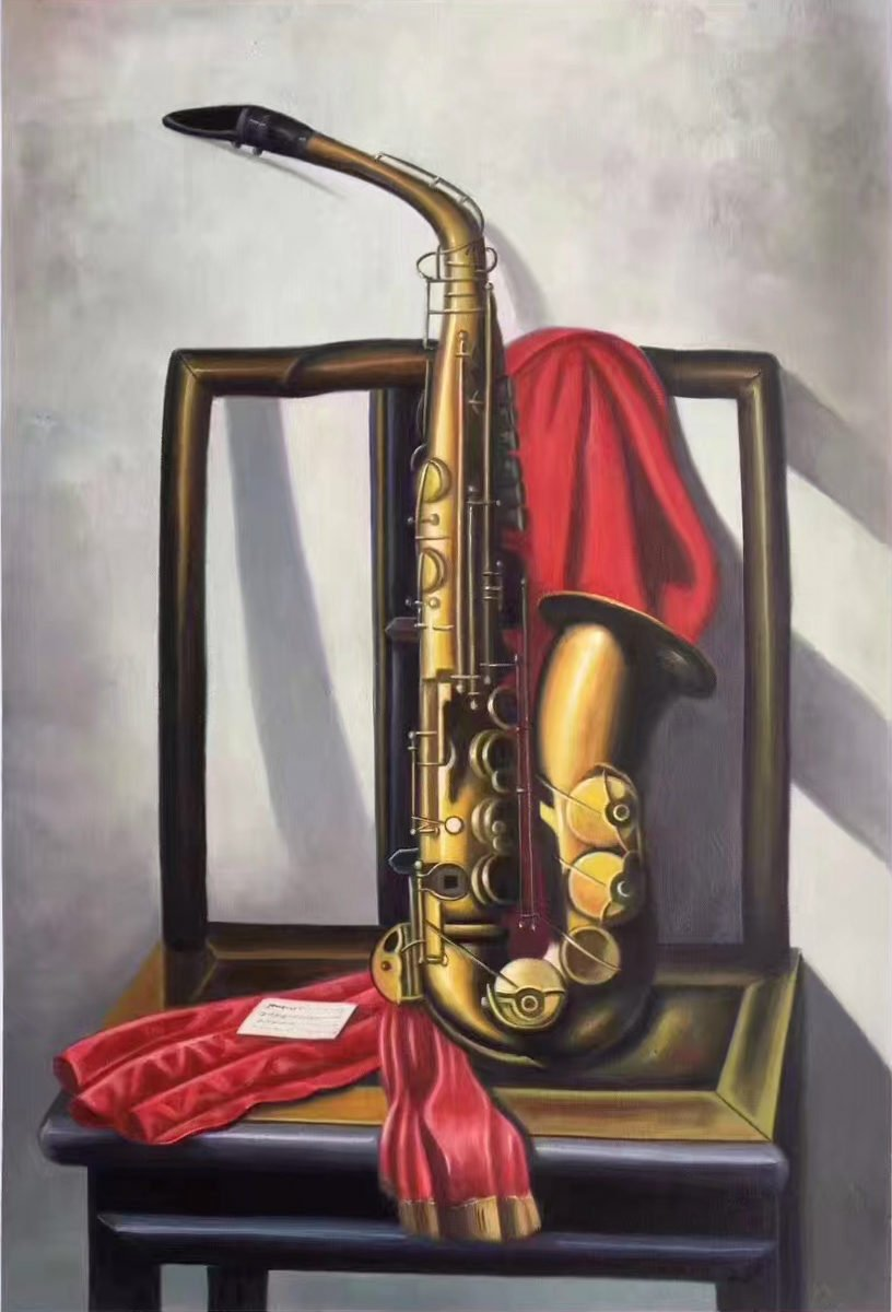 """Simple modern Hand painted oil painting on canvas""""Saxophone""""60x90CM(23.6""""x35.4"""")Unframed-07"""
