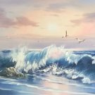 "Simple modern Hand painted oil painting on canvas""Waves""60x120CM(23.6""x47.2"")Unframed-06"
