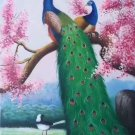 """Simple modern Hand painted oil painting on canvas""""Gorgeous peacock""""60x120CM(23.6""""x47.2"""")Unframed-14"""