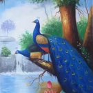 """Simple modern Hand painted oil painting on canvas""""Gorgeous peacock""""60x120CM(23.6""""x47.2"""")Unframed-21"""
