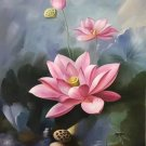 """Chinese style Hand painted oil painting on canvas""""lotus""""60x90CM(23.6""""x35.4"""")Unframed-26"""