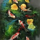 "Chinese style Hand painted oil painting on canvas""carp""60x120CM(23.6""x47.2"")Unframed-05"