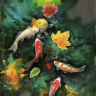"""Chinese style Hand painted oil painting on canvas""""carp""""60x120CM(23.6""""x47.2"""")Unframed-06"""
