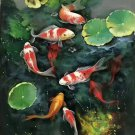 "Chinese style Hand painted oil painting on canvas""carp""60x120CM(23.6""x47.2"")Unframed-08"