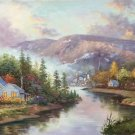 """American style Hand painted oil painting on canvas""""Private garden""""60x120CM(23.6""""x47.2"""")Unframed-14"""