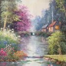 "American style Hand painted oil painting on canvas""Private garden""60x120CM(23.6""x47.2"")Unframed-15"
