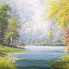 "American style Hand painted oil painting on canvas""Creek""70x180CM(27.6""x70.9"")Unframed-111"