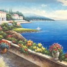 """Hand painted oil painting on canvas""""Sea view Villa""""70x180CM(27.6""""x70.9"""")Unframed-62"""