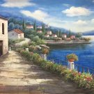 "Hand painted oil painting on canvas""Sea view Villa""70x180CM(27.6""x70.9"")Unframed-63"