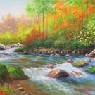 """American style Hand painted oil painting on canvas""""Creek""""70x180CM(27.6""""x70.9"""")Unframed-115"""