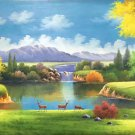 "American style Hand painted oil painting on canvas""Creek""70x180CM(27.6""x70.9"")Unframed-118"