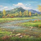 "American style Hand painted oil painting on canvas""Creek""70x180CM(27.6""x70.9"")Unframed-123"