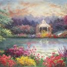 """American style Hand painted oil painting on canvas""""Private garden""""60x120CM(23.6""""x47.2"""")Unframed-18"""