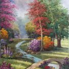 """American style Hand painted oil painting on canvas""""Private garden""""60x120CM(23.6""""x47.2"""")Unframed-26"""