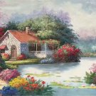 "American style Hand painted oil painting on canvas""Private garden""60x120CM(23.6""x47.2"")Unframed-27"