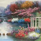 """American style Hand painted oil painting on canvas""""Private garden""""60x120CM(23.6""""x47.2"""")Unframed-30"""