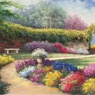 """American style Hand painted oil painting on canvas""""Private garden""""60x120CM(23.6""""x47.2"""")Unframed-31"""