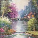 "American style Hand painted oil painting on canvas""Private garden""60x120CM(23.6""x47.2"")Unframed-32"