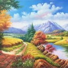 """Hand painted oil painting on canvas""""Image of the countryside""""60x120CM(23.6""""x47.2"""")Unframed-51"""