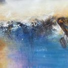 """Simple modern Hand-painted oil painting on canvas""""Cirrus""""40x150cm(16'' X 60'')Unframe-02"""