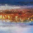 "Simple modern Hand-painted oil painting on canvas""Cirrus""40x150cm(16'' X 60'')Unframe-04"