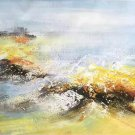 "Simple modern Hand-painted oil painting on canvas""Cirrus""40x150cm(16'' X 60'')Unframe-05"