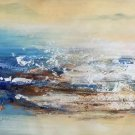 """Simple modern Hand-painted oil painting on canvas""""Cirrus""""40x150cm(16'' X 60'')Unframe-07"""