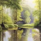 """Hand painted oil painting on canvas""""Creek""""60x120CM(23.6""""x47.2"""")Unframed-144"""