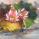 "Chinese style Hand painted oil painting on canvas""lotus""60x120CM(23.6""x47.2"")Unframed-53"