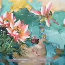 """Chinese style Hand painted oil painting on canvas""""lotus""""60x120CM(23.6""""x47.2"""")Unframed-57"""