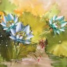 "Chinese style Hand painted oil painting on canvas""lotus""60x120CM(23.6""x47.2"")Unframed-58"