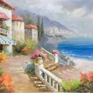 "Mediterranean Hand painted oil painting on canvas""Sea view Villa""60x90CM(23.6""x35.4"")Unframed-65"
