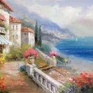 "Mediterranean Hand painted oil painting on canvas""Sea view Villa""60x90CM(23.6""x35.4"")Unframed-66"