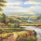 "Hand painted oil painting on canvas""Image of the countryside""70x180CM(27.6""x70.9"")Unframed-59"