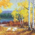 """Nordic style Hand painted oil painting on canvas""""forest""""70x180CM(27.6""""x70.9"""")Unframed-45"""